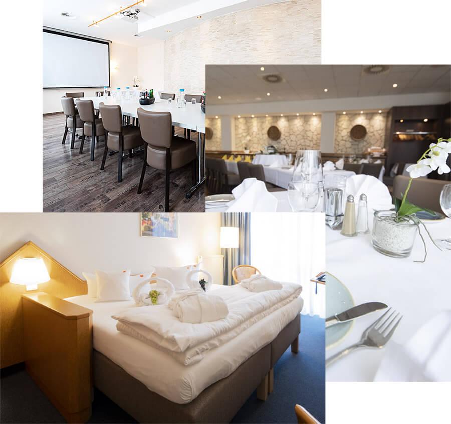 Collage aus Fotos der einzelnen Kategorien - limburgerhof hotel & residenz