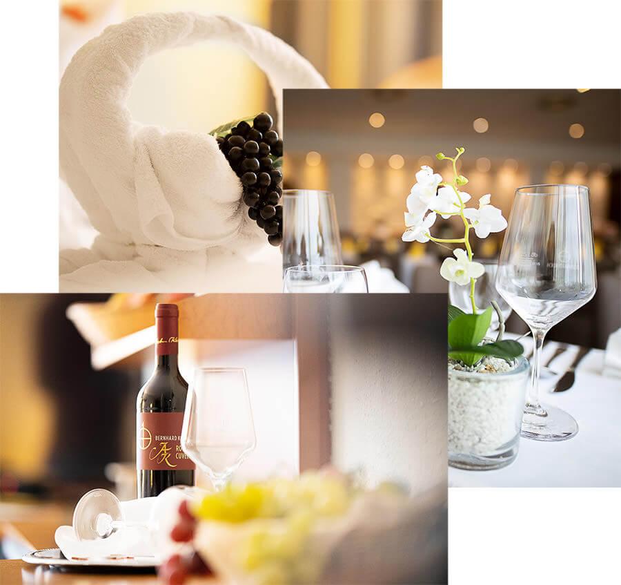 Collage aus Schmuckfotos für Geschenkgutscheine von limburgerhof hotel & residenz